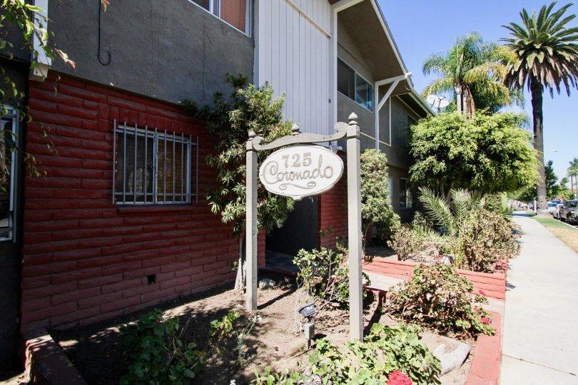The sign announcing the Coronado Manor in Long Beach, California