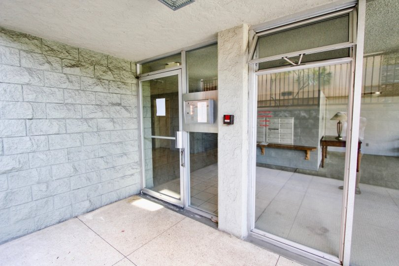 The doors into the Crestmar in Long Beach, California