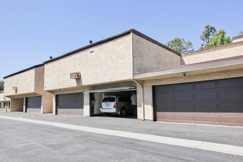 The garages at El Dorado Lakes in Long Beach, California