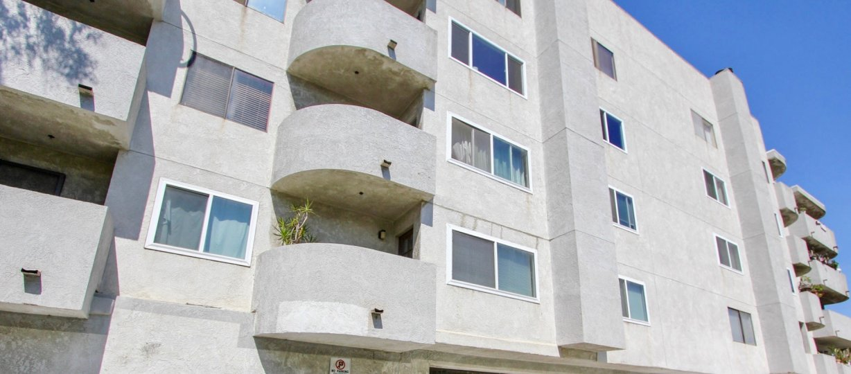 The balconies at Elm Plaza in Long Beach, California