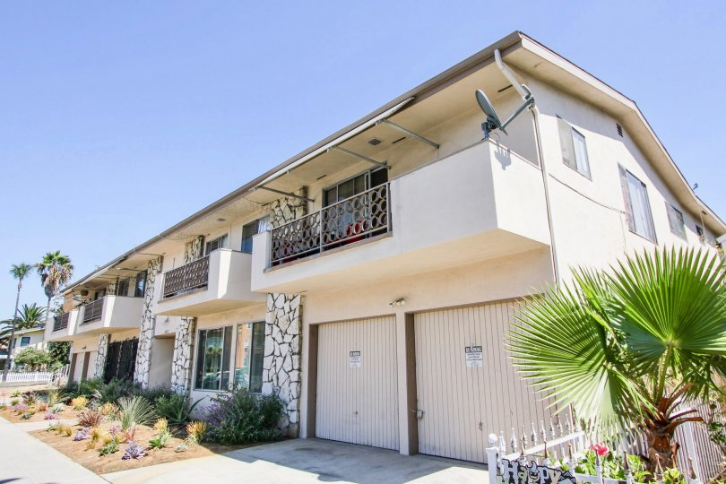 The garages at the Golden Cedar Condominiums in Long Beach, California
