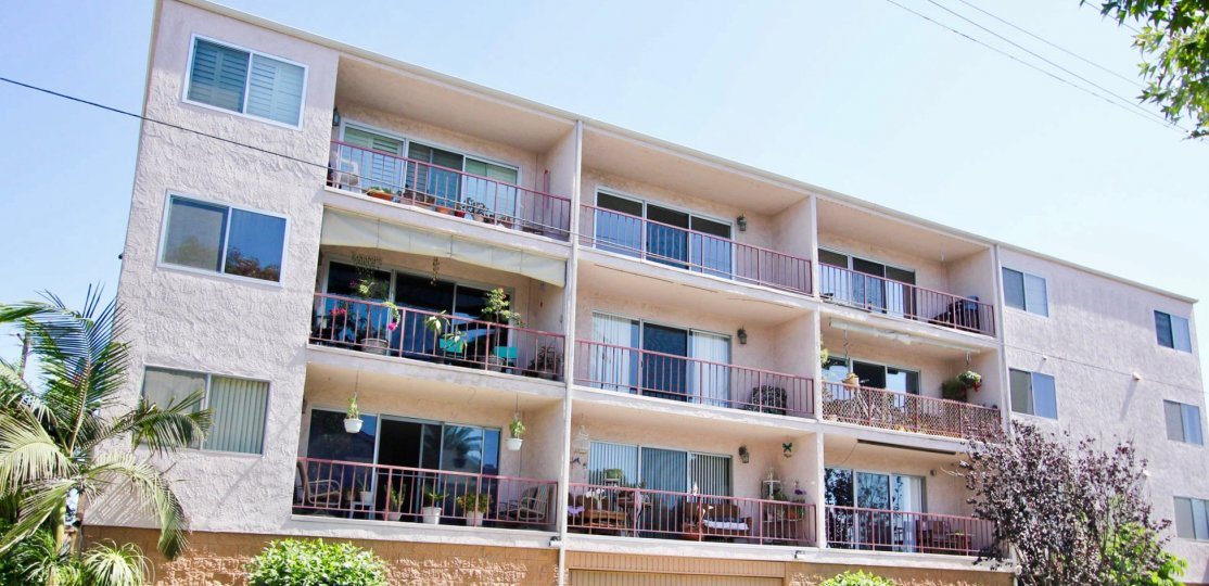 The balconies at Golden Sands in Long Beach, California