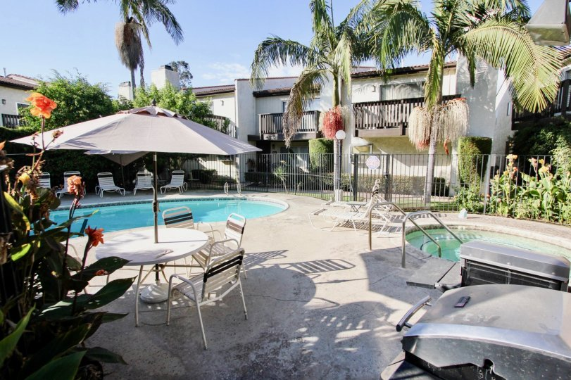 The patio at Highland Haciendas in Long Beach, California