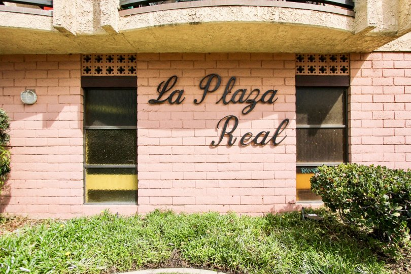 The La Plaza name on the building in Long Beach, California