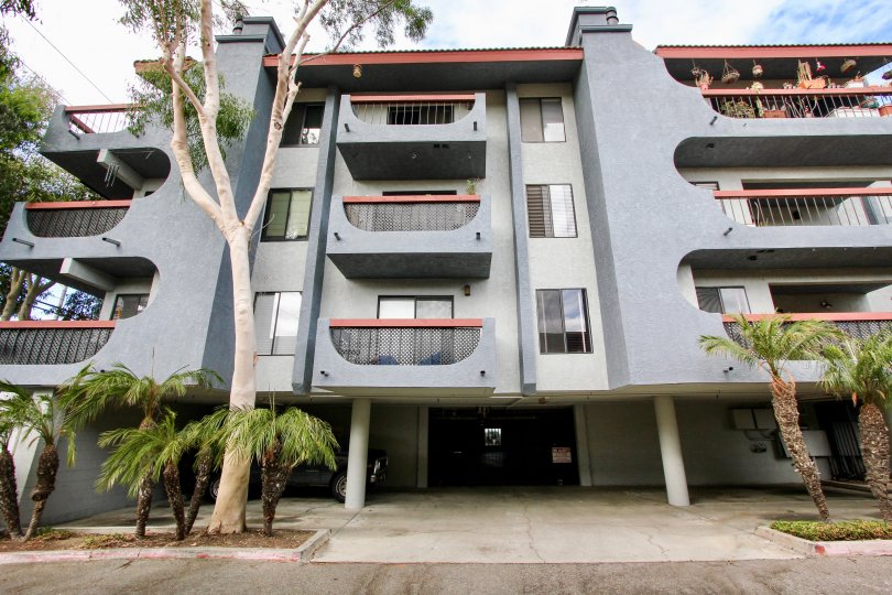 A secure entrance to a four story apartment building that is located in Loma Linda, Long Beach, California.