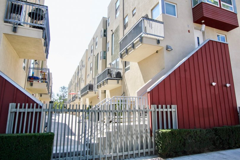 The gate into Olive Court in Long Beach, California