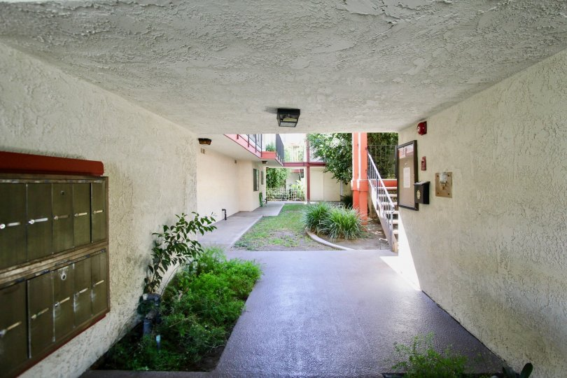 The walkway through Orange Villas