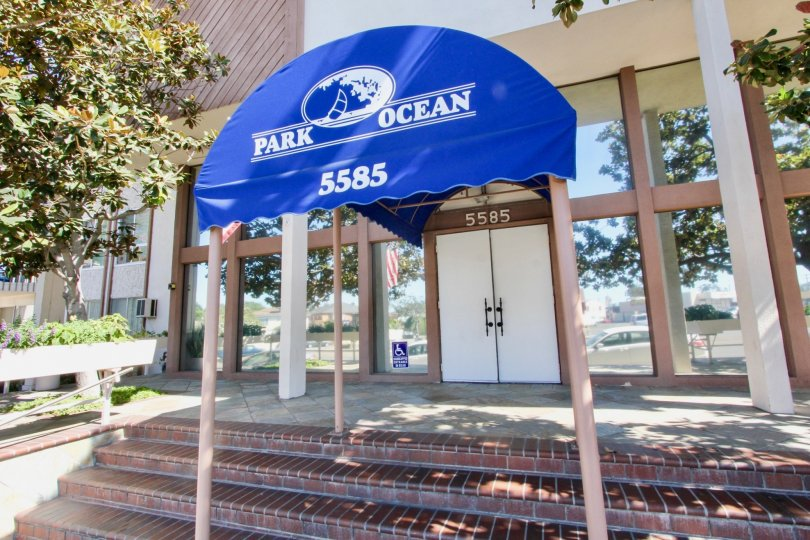 The Park Ocean name above the entrance into Long Beach, California