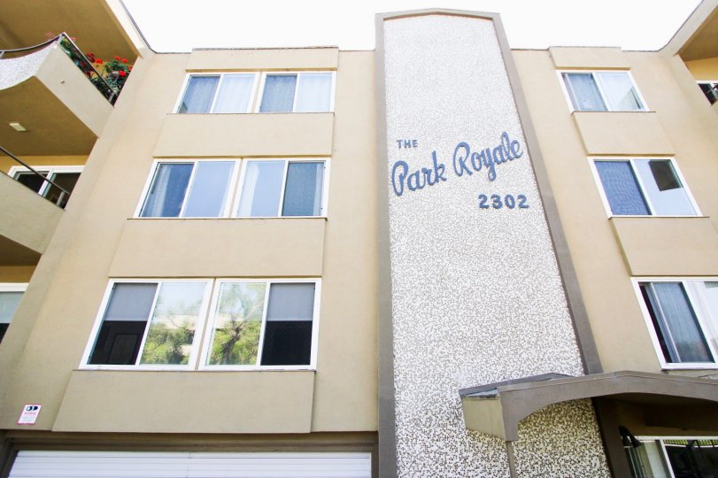 The address for the Park Royale on the building