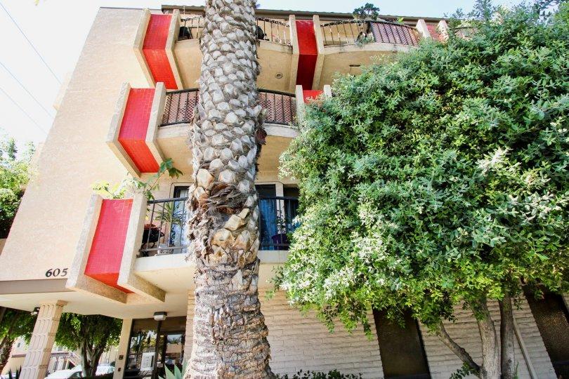 The balconies at the Plaza Redondo in Long Beach, California