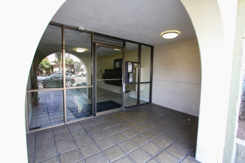 The doors into the Redondo Plaza Condominiums