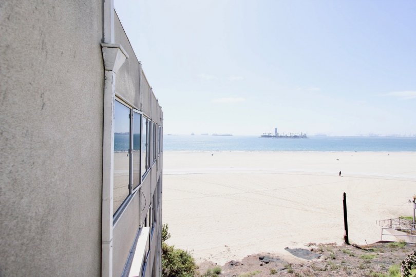 The ocean view seen at Sixteen 36th Place in Long Beach, California