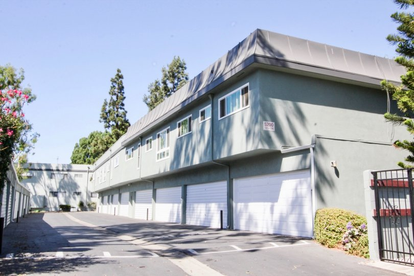 The garages at Sovereign Park Estates in Long Beach, California