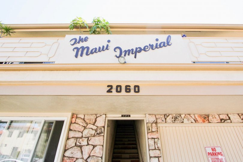 The name The Maui Imperial on the building