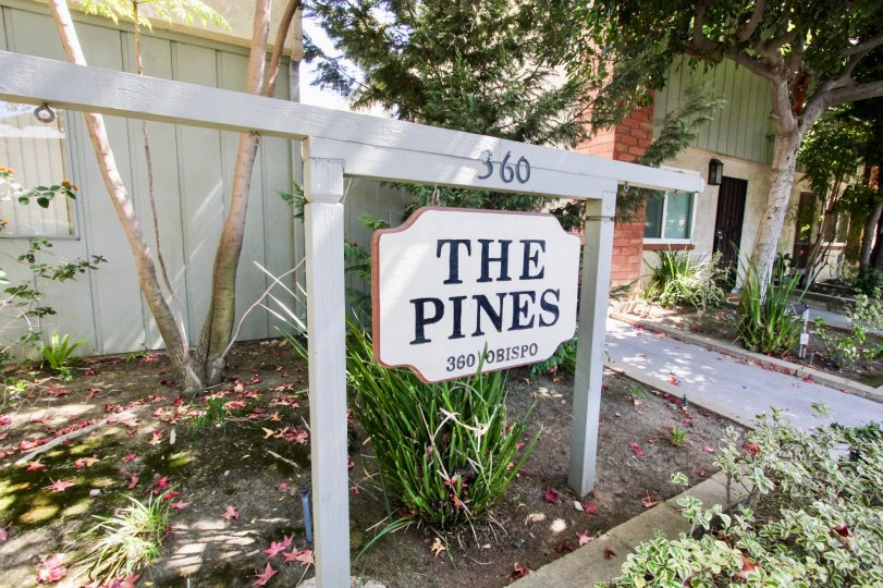 The sign announcing The Pines in Long Beach, California