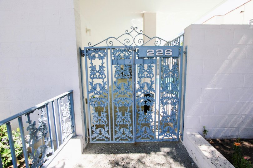 The gate at the View Carre in Long Beach, California