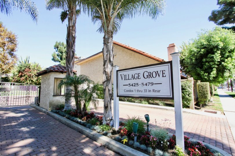 The sign announcing Village Grove in Long Beach, California