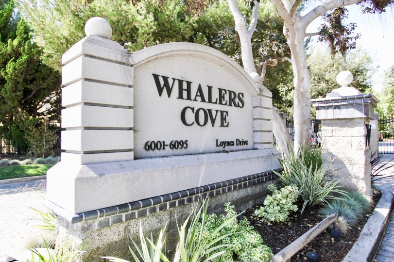 The sign into Whalers Cove at Long Beach, California