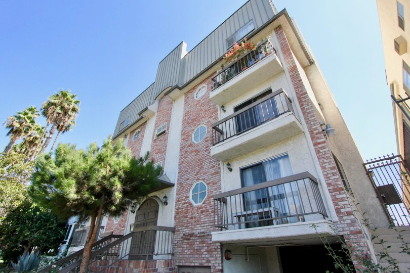 The balconies seen at Harvard Heights in Los Feliz, California