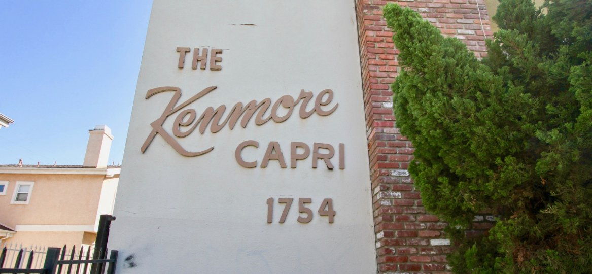 The Kenmore Capri name on the building