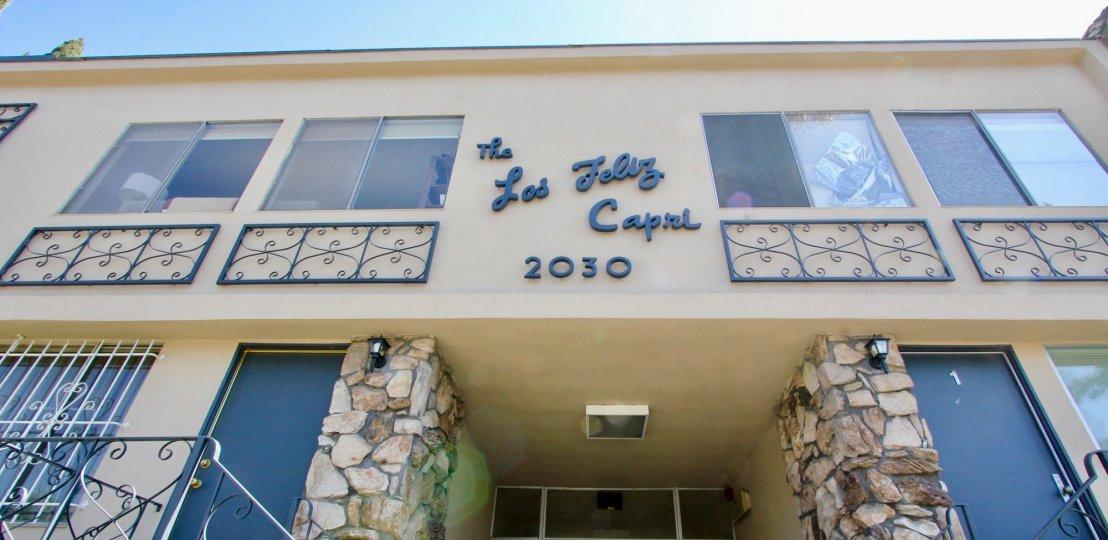 The name on the Los Feliz Capri building in Los Feliz, California
