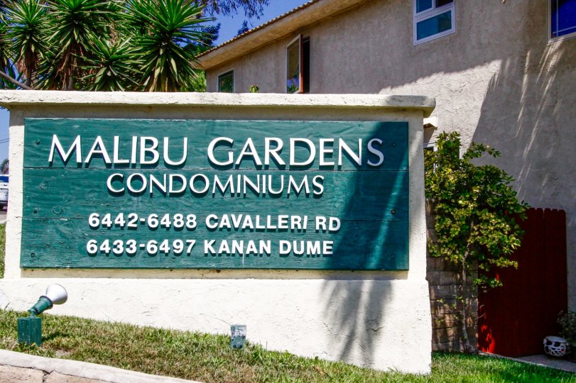 The sign announcing the Malibu Gardens in CA California