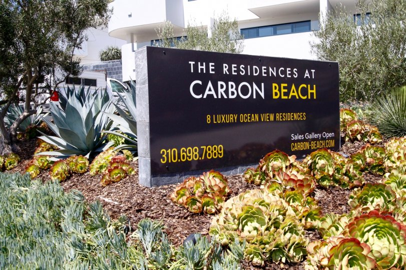 The sign annoucning Residences at Carbon Beach in CA California