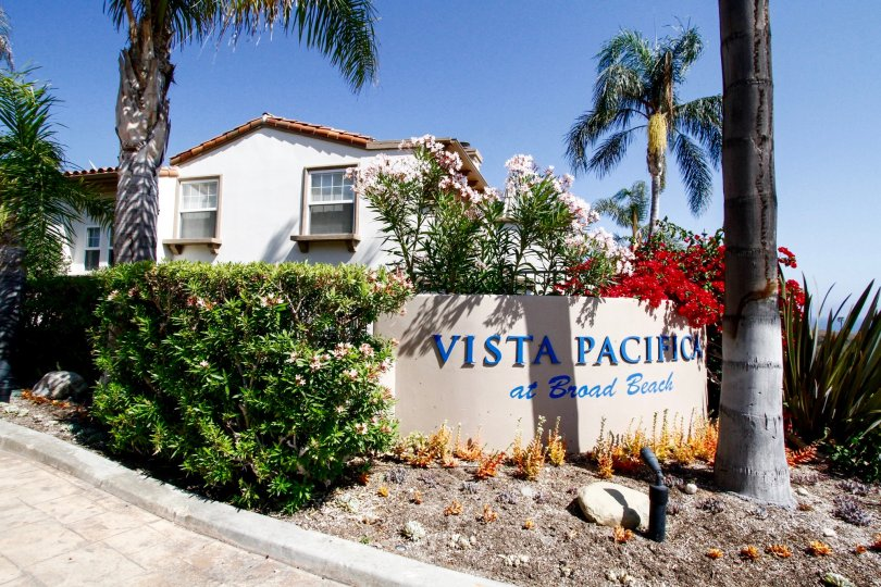 The welcoming sign at Vista Pacifica at Broad Beach in CA California