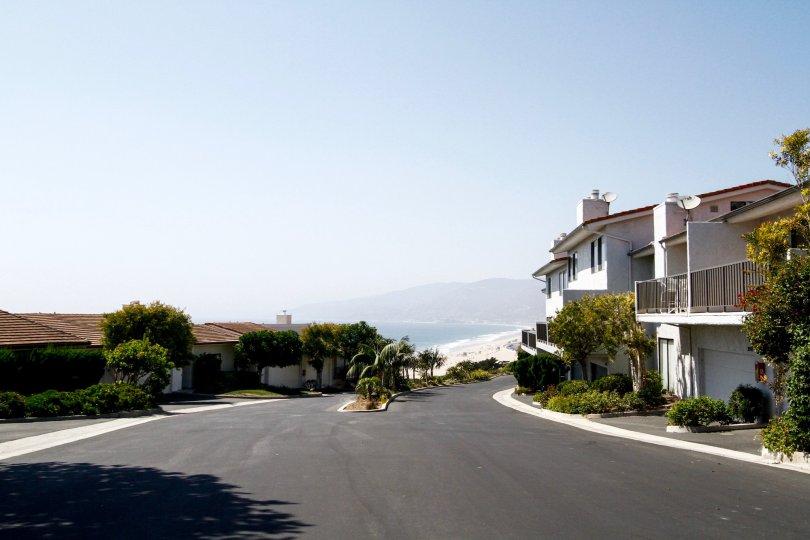 The drive into Zuma Bay Villas in CA California
