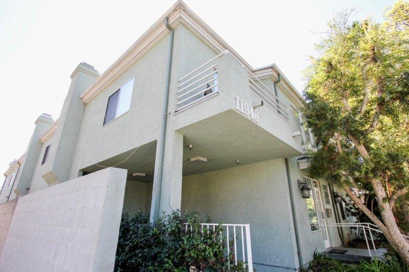The balcony seen at 11946 Avon Way in Mar Vista, California