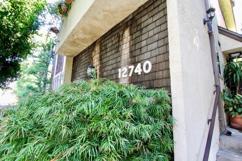 The address on the building at 12740 Pacific
