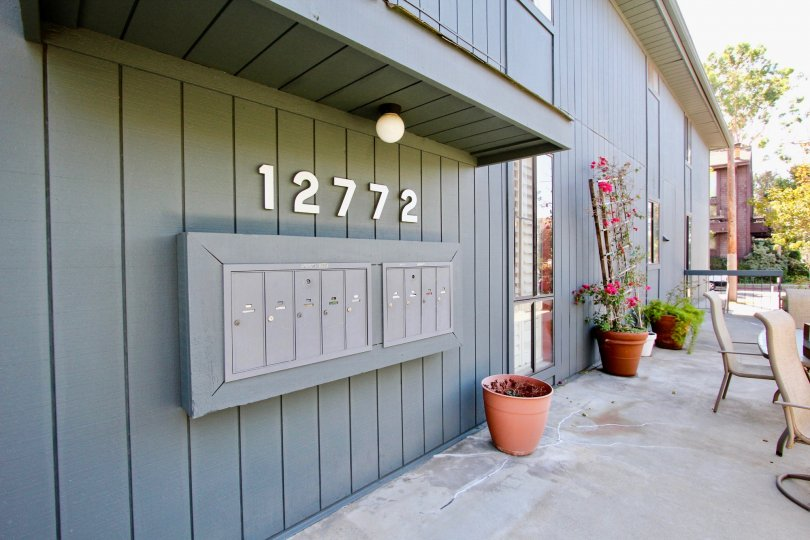 The mail area for residents of 12772 Pacific Ave