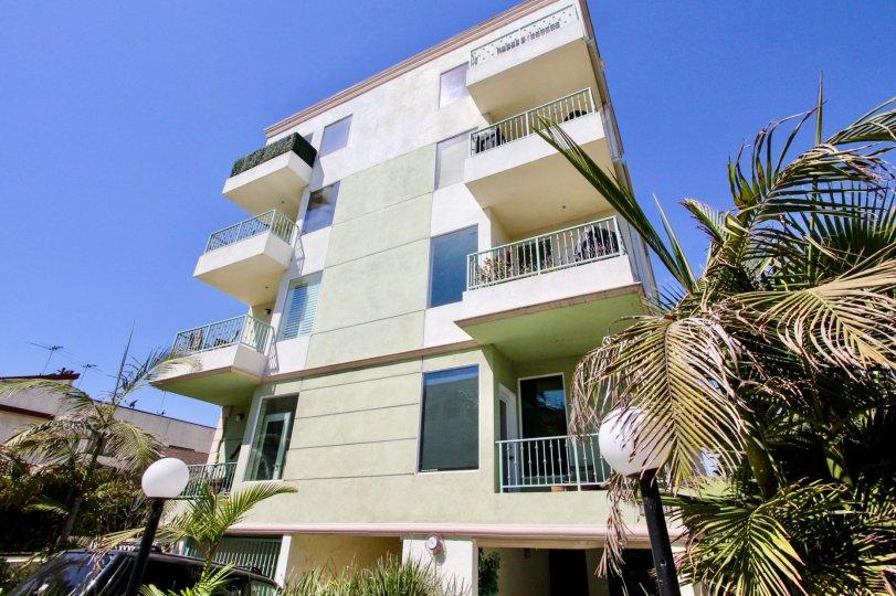 The balconies at Avon Villas in Mar Vista, California