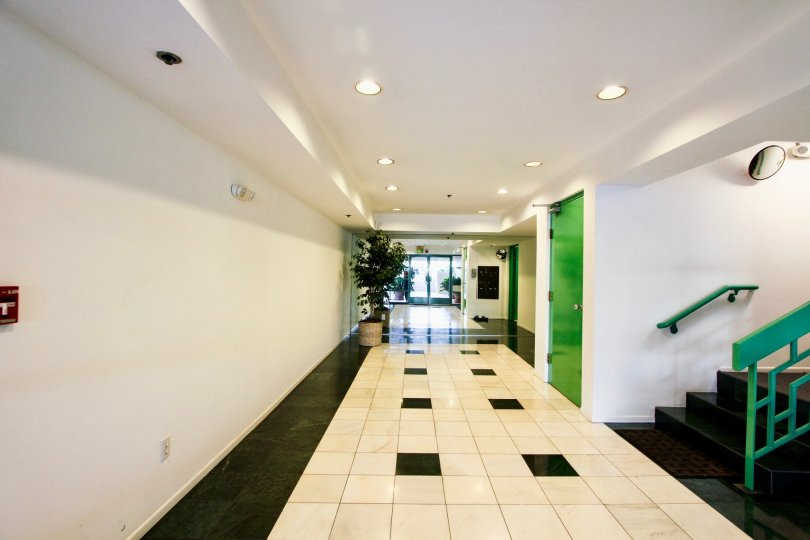 The hallway inside of Avon Way Condominiums