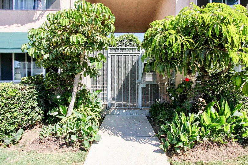 The entrance into Brandywine Courts in Mar Vista, California