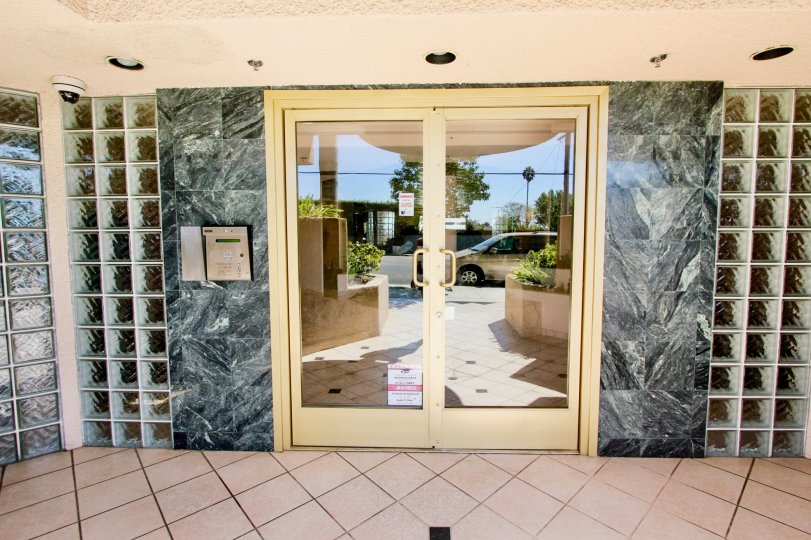 The doors leading into Centinela Ocean View Condos