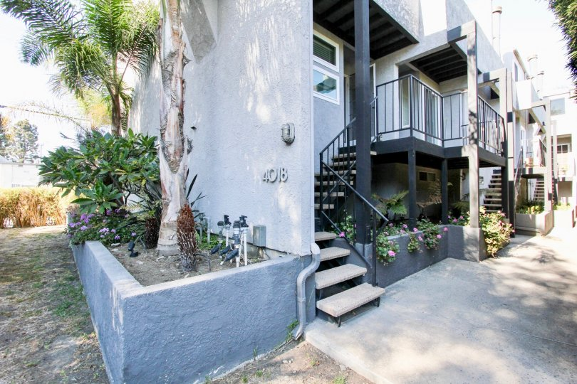 The stairs leading up to Marina East Townhomes