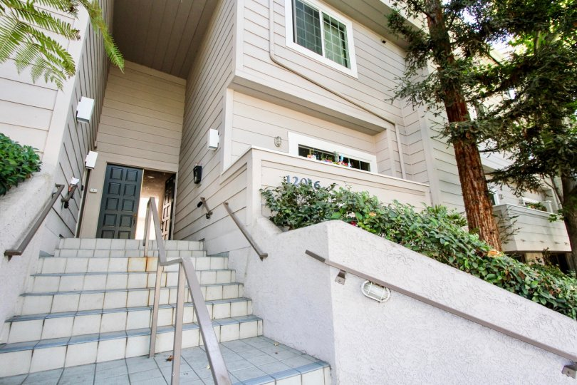 The stairs leading up to Washington Place Townhomes in Mar Vista, California