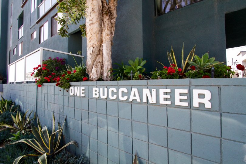 The sign annoucning 1 Buccaneer in Marina Del Rey
