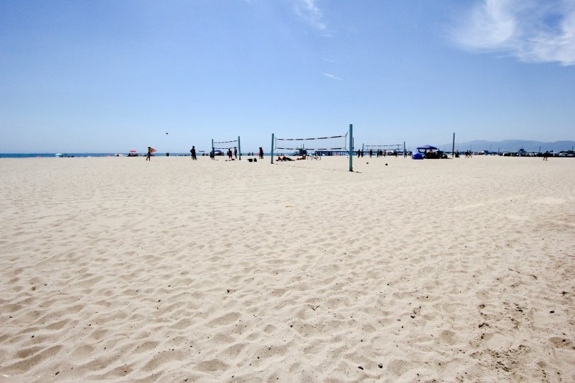 The scenic, white sand beaches of Eastwind in Marina Del Rey, California.