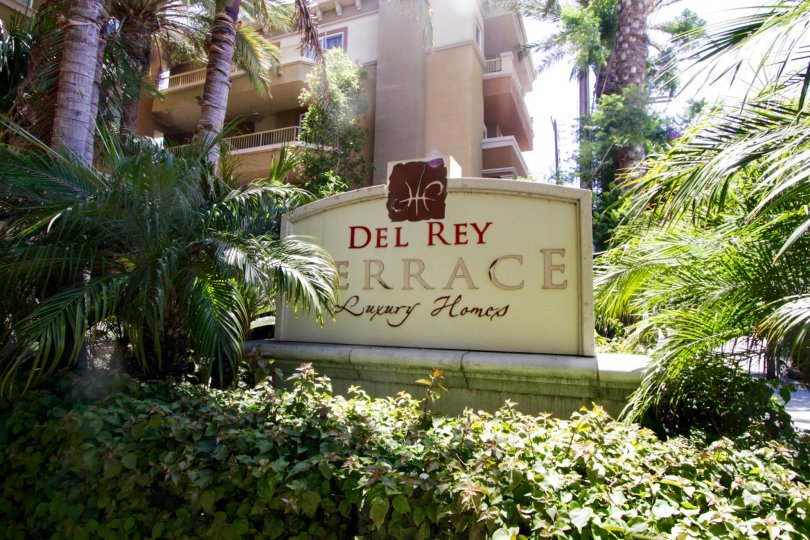 The sign announcing the Del Rey Terrace at Marina Del Rey