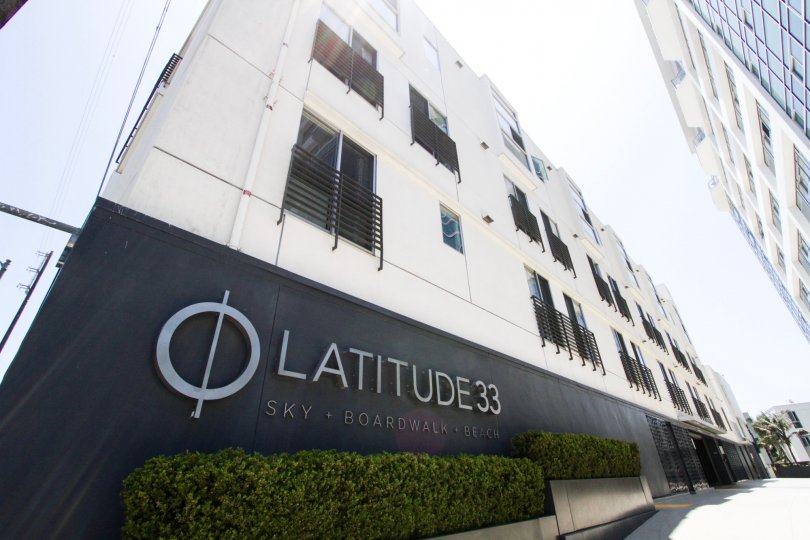 The sign of Latitude 33 Boardwalk Collection on the building