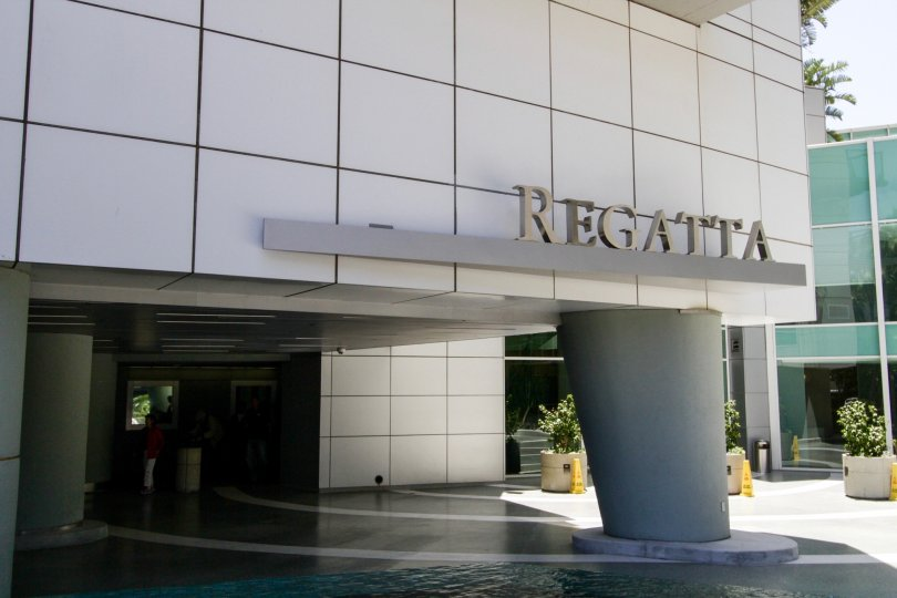 The entryway seen upon arriving at Regatta Seaside Residences