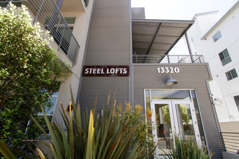 The entrance into Steel Lofts