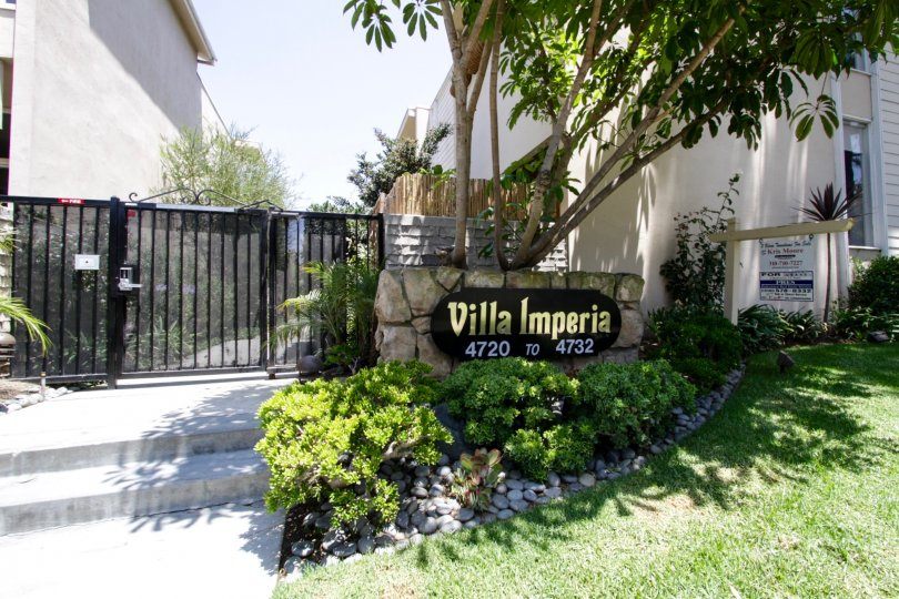 The welcoming sign into Villa Imperia in Marina Del Rey