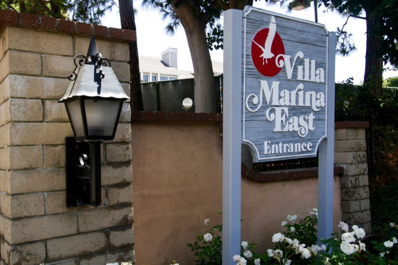 The sign welcoming you into Villa Marina East V in Marina Del Rey