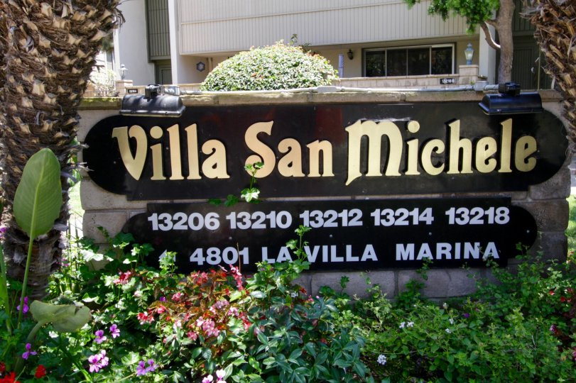 The sign welcoming you to the Villa San Michele