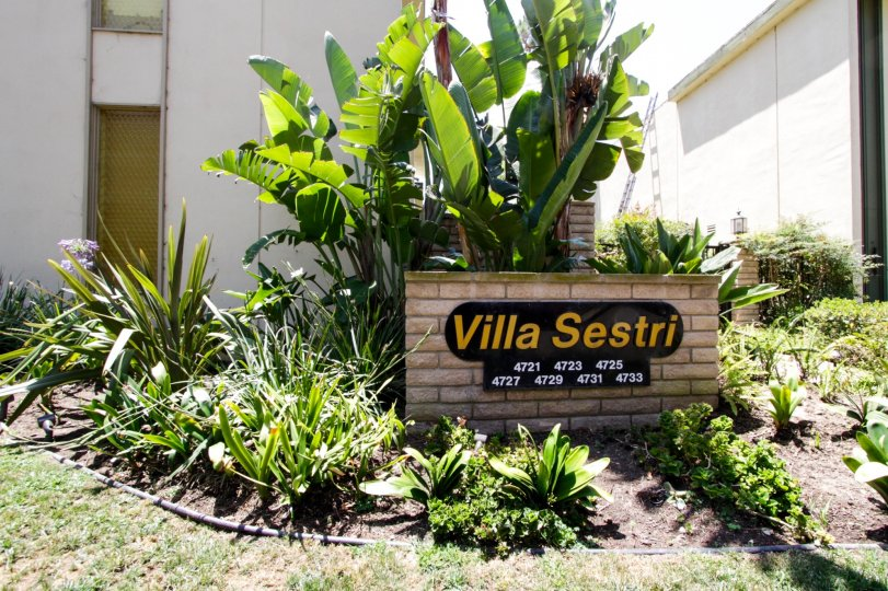 The welcoming sign into the Villa Sestri Sign in Marina Del Rey