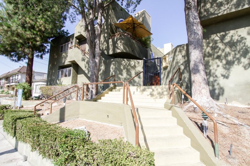 The stairs leading up into The Villas in North Hollywood