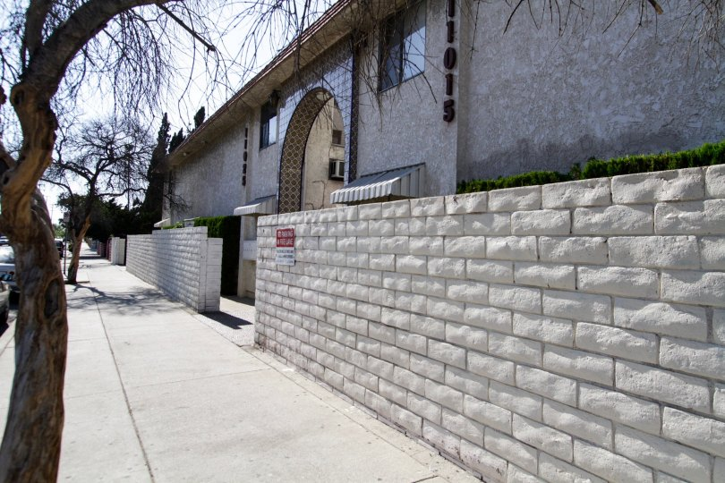 The brick wall around Villa Casitas in North Hollywood